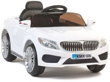 Ride on Car 12v Electric BMW 535 Style Saloon White Colour with Parental Radio Control